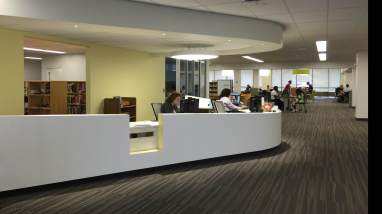 The new circulation desk at the Andrew L. Bouwhuis library.