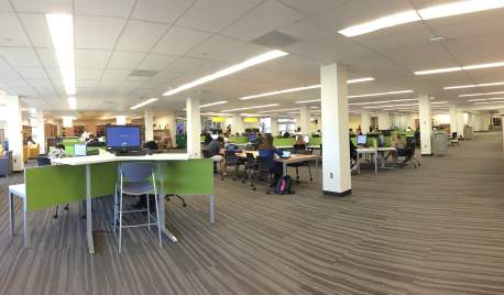 The new layout of the library is much more open than it was prior to the renovation.