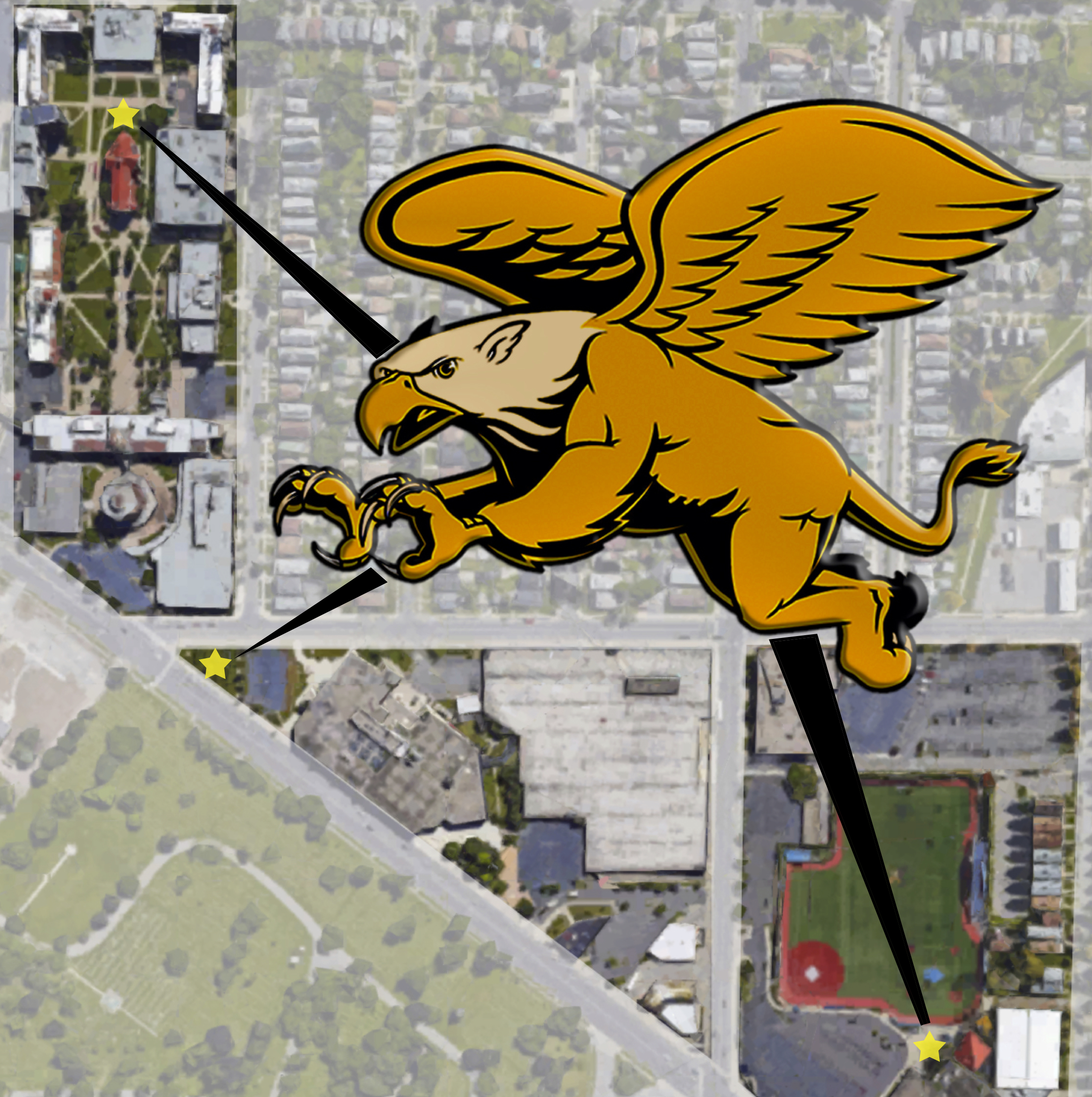 The three potential locations where the Griffin statue may end up. Graphic by: Annie Niland
