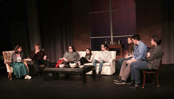 Little Theater's cast during rehearsal of Dear Friends.