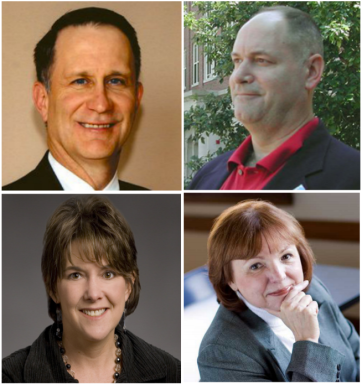 The four candidates for the position of Dean of Arts and Sciences from top left to bottom right: Dr. Harry Dammer, Dr. David Darrow, Dr. Elizabeth Gill and Dr. Patricia Erickson