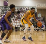 Jermaine Crumpton dribbles during first half action at Niagara. (Marshall Haim/The Griffin)