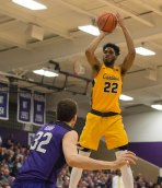 Jibreel Faulkner attempts a shot during first half action against Niagara. (Marshall Haim/The Griffin)