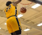 Jibreel Faulkner makes a dunk during second half action at Niagara. (Marshall Haim/The Griffin)