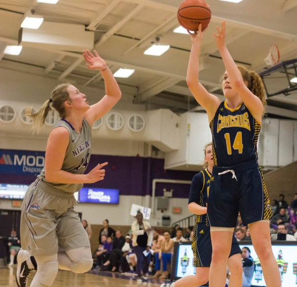 Sara Hinriksdóttir makes a shot over Kaylee Stroemple during second half action. (Marshall Haim/The Griffin)