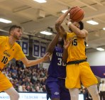 Takal Molson gets fouled during first half action at Niagara. (Marshall Haim/The Griffin)