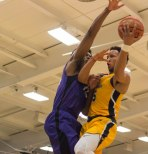Takal Molson gets fouled on a layup during first half action against Niagara. (Marshall Haim/The Griffin)