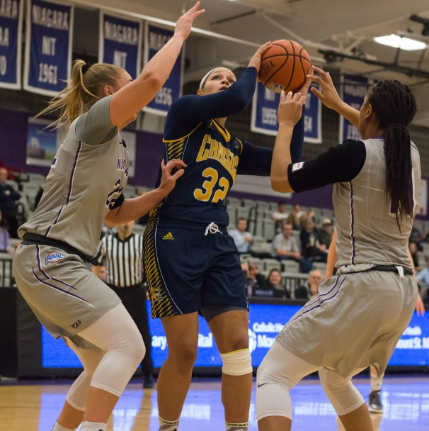 Saliah Serrette gets double-teamed during first half action against Niagara. (Marshall Haim/The Griffin)